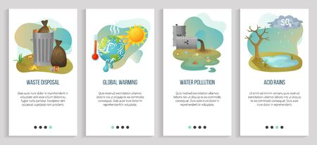 Global warming vector, acid rains and harmful substances, garbage disposal heat and hot temperature with melting planet, water pollution. Website or slider app, landing page flat style