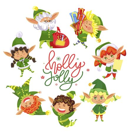 Holly jolly greeting card for christmas holidays celebration. Isolated set of elves and calligraphic inscription. Girls and boys, small kids wearing green costumes and traditional hats, vector