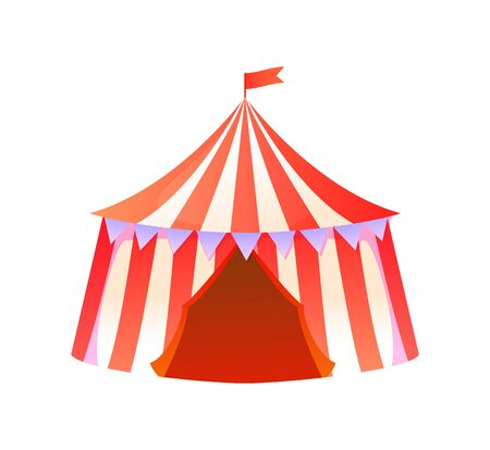 Circus tent vector, isolated amusement park attraction performance with clowns, entrance in shuttle flat style concert program. Entertainment on holiday