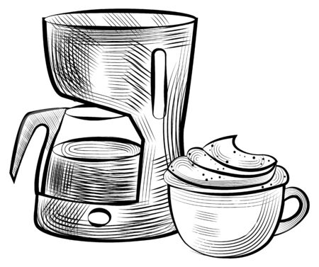 Coffee making machine and cup of hot beverage with foam vector, isolated monochrome sketch outline. Colorless mug with handle containing latte cappuccino Ilustrace