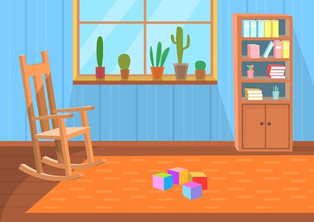 Room interior vector, chair and carpet with cube toys on floor. Window with cactus and house plants, bookcase with books and fairy tales for children back to school concept. Flat cartoon