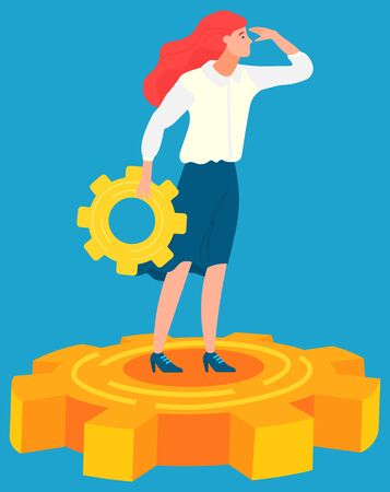 Woman manager standing on gearwheel and looking into distance. Business tools and innovations. Vector illustration on blue background in flat style Illustration
