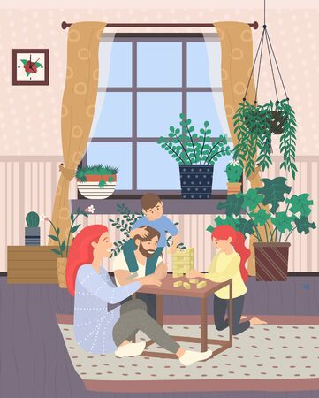 Family playing wooden blocks game vector, mother and father with kids, children and parents. Window with curtains, houseplants decor of home, interior style
