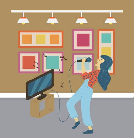 Person singing at home vector pastime, tv set with screen and lyrics of song. Female singer practicing at bar, woman entertaining developing hobby skill