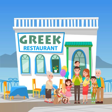 Smiling man and woman standing near greek restaurant. Parents holding children near cafe in white color, building with mountain and sea view, taverna construction, Greece architecture, dinner vector
