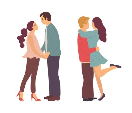 Couples spending time together vector, man and woman on date kissing and hugging. Double dating pairs, male holding female, close people flat style