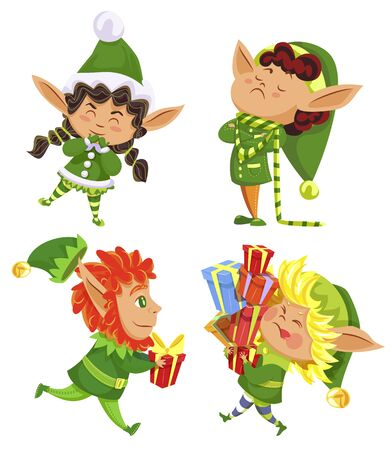 Collection of christmas characters, isolated xmas elves wearing traditional costumes. Kids with presents for winter holidays. Child with gifts in boxes. Dwarfs boys and girls, vector in flat