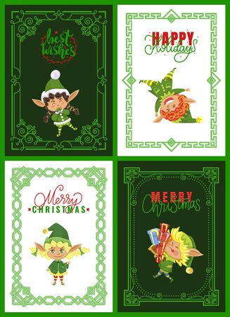 Elves on Christmas greeting cards, Santa helpers having fun. Little dwarfs playing and carrying presents, winter holidays postcards or invitations. Xmas magic creatures in frame vector illustrations Vettoriali