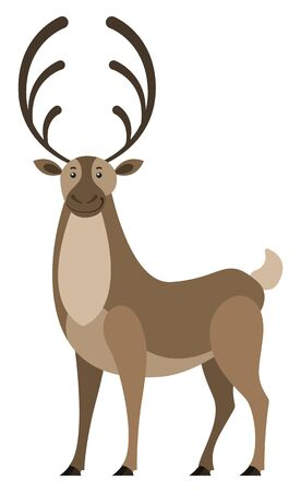 Deer with big horns, isolated wild animal. Doe with furry coat living in forest. Stag standing still. Brown woodland creature, fauna of woods. Elk or moose mammal design. Vector in flat style Illusztráció