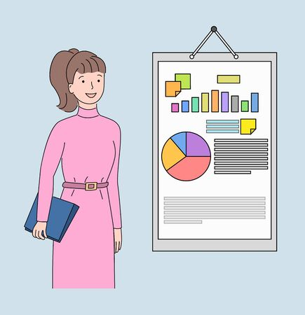 Young businesswoman in pink dress vector illustration, standing employee presenting and analyzing company's growth on a white board with infographics  イラスト・ベクター素材
