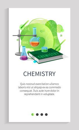 Chemistry discipline vector, study about substances and experiments info on web, containers with liquids and books to note researches results. Website slider app template, landing page flat style