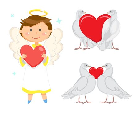 Angelic child vector, male wearing long robe holding heart in hands. Valentines day celebration and greeting. Doves in love, birds purity and devotion Illustration