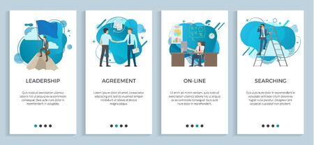 Agreement between businessmen vector, online office using computer and digital info and data, leadership searching male with binoculars on ladder. Website or app slider, landing page flat style