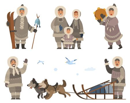 Set of inuits wearing traditional warm clothes. Isolated eskimos people family mother, father and kid. Person with musical instrument. Male with hunted fish. Character with sled dogs outdoors vector