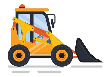 Machinery used in construction vector, isolated icon of machine in working process. Bulldozer vehicle transport helping workmen to cope with tasks