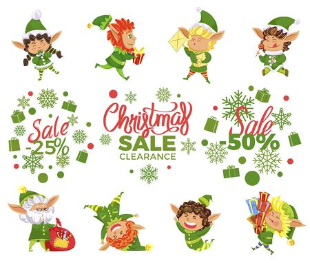 Collection of banners for christmas sale and discounts. Isolated set of elves and promotional discounts for shops and stores. Leprechauns with long ears. 50 Percent off offering for clients, vector