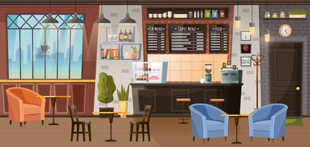 Coffeehouse inside design, room with furnishing. Furniture for cafe like barista stance and place for customers, armchairs with tables. Cozy cafeteria interior for relax and work. Vector illustration Illustration