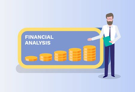 Financial analysis vector, presenter with infographic made in coins, gold money assets, predictions of banking service. Presenting new ideas of bank