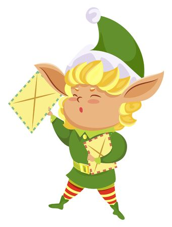 Elf cartoon hero wearing green costume and hat holding letters. Funny Christmas character with big ears handing out postcards. New Year assistant with festive message isolated on white vector