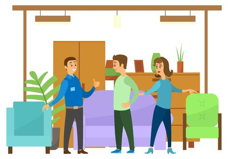 People in furniture store looking at new goods for home. Wardrobe and closet, sofa and armchairs, plants and light vector illustration flat style