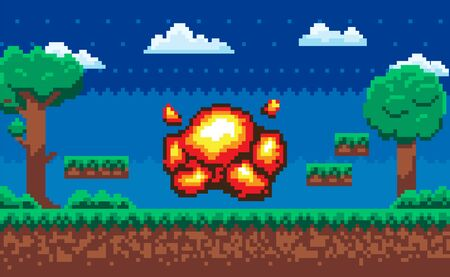 Explosive bomb on pixel game scene vector, night background area for arcade. Trees and clouds soil and layers of grounds with grass, summer style Ilustração