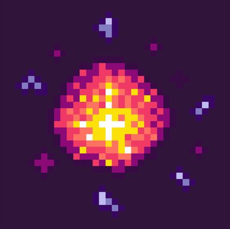 Equipment of pixel game. Powerful explosion on black background. 8 bit graphics of elements, pixel-art bomb bang, pixelated cosmic object for mobile app games. Bang burst explode flash nuclear bubble
