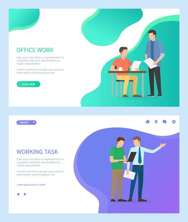 Working task vector, boss talking to employee male, employer giving assignment to man noting down ideas. People at work, office workers set. Website or webpage template, landing page flat style