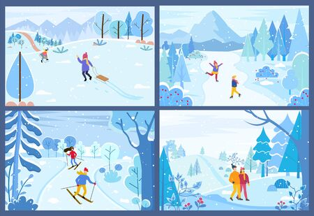 Winter activities of characters spending weekends outdoors. Man and woman competing in ski race. Couple walking in forest. Kid pulling sleds in park. Figure skating children in woods, vector