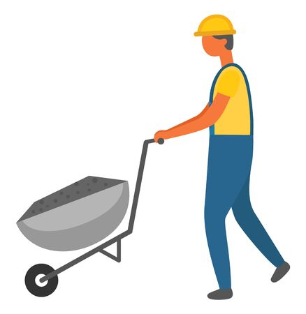 Man wearing special uniform for workers vector, isolated character with protective helmet. Male working hard, carriage filled with cement for building