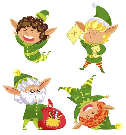 Set of elves, winter character wearing green costumes. Isolated dwarfs collection, kids with letters and bag filled with candies and traditional Christmas treats. Leprechaun jumping and smiling vector
