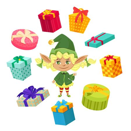 Elf preparing presents for christmas time. Little girl stand among lot of festive boxes. Carton packages tied by ribbons and bows. Character help santa claus with gifts for kids. Vector illustration