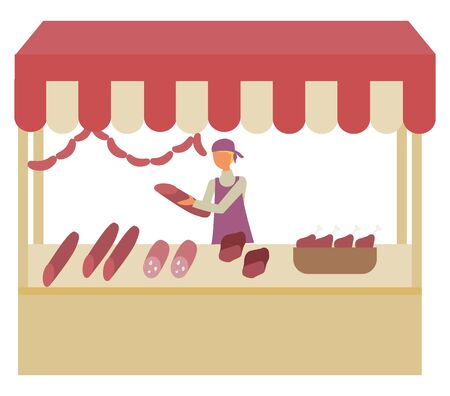 Butchery shop at marketplace isolated seller with sausages in hands. Vector meat store at market, shop-window tent and butcher selling meaty products