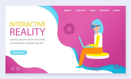 Interactive or augmented reality, modern entertainment. Woman sit and play virtual games using vr glasses. Designed web page with navigation menu. Vector illustration of website in flat style