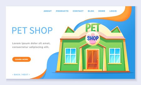 Pet shop landing page with building for domestic animals. Shopping pet-store or veterinarian with paw signboard. Exterior of cartoon store for animal. Website template, web page flat style vector Illustration