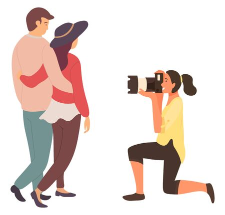 Pretty Brunette Professional Photographer Work Vector Illustration. Woman Taking Picture Of Cute Lovely Couple Standing Near Gorgeous Lady Flat Style Concept Ilustração