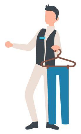 Persona que trabaja en la tienda como vector consultor, carácter aislado dando consulta y asesoramiento. Hombre con pantalones pantalones colgando de estilo plano percha Ilustración de vector