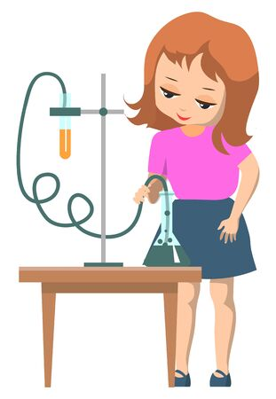 Science club for children. Schoolgirl doing chemical experiment with test tubes and liquids on table. Kid use leisure time for education. Back to school concept. Flat cartoon vector illustration Çizim