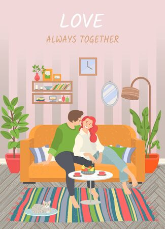 Love always together. Cute couple sitting on sofa in living room. Coffee table with fruits plate, cat on rug, Cosy sweet home vector illustration, flat style