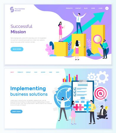 Successful mission and implementing business solution vector. People with tool magnifying glass and growing charts with blue arrow going up. Website or webpage template, landing page flat style Ilustrace