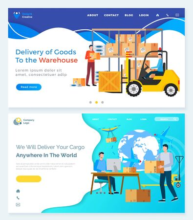 Delivery of goods to warehouse, we will deliver your car anywhere in world online. People holding box, vehicle with cardboard package. Man working with parcel in office webpage template vector
