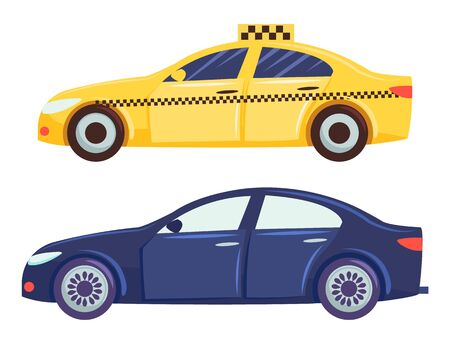 Two cars isolated on white background. Yellow taxi for people transportation. Dark blue small hatchback or sedan. Vehicle to drive and get your destination quickly. Vector illustration in flat style