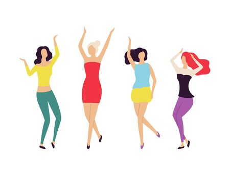 Nightlife of women dancing together vector, partying people crowd of females wearing best clothing, hairstyles of dancers. Clubbing ladies partying Ilustracja
