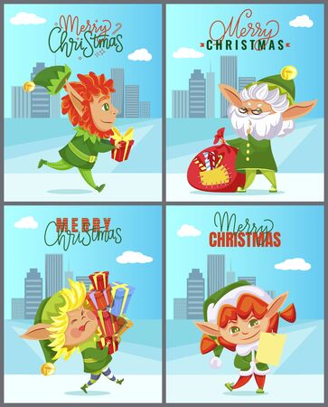 Christmas greeting cards with elves and cityscape, Xmas gifts and Santa helpers. Skyscrapers and fairy tale characters in costumes carrying presents. Winter holiday postcards vector illustrations