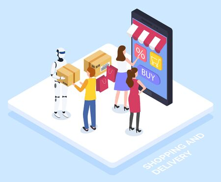 Women look at virtual shop on smartphone, online shopping. Customers use gadget for online shopping. Robotic guy deliver parcels, modern shipping. Vector illustration of electronic commerce in flat Illustration
