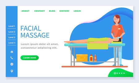 Facial massage therapy and care by masseuse. Man lying with towel on table in salon. Professional skincare on face for relaxing person in spa. Webpage or app slider with level links template vector Иллюстрация