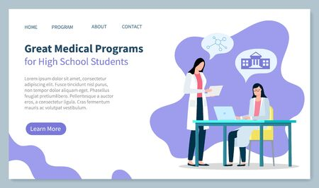 Medical programs for high school students, doctors at laboratory. People talking about university. Medical worker and colleague. Website or webpage template, landing page, vector in flat style