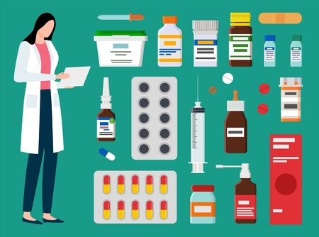 Doctor with medicine vector, medical worker isolated. Clinical help and diagnosis of sickness professional care and treatment, syringe and spray pills
