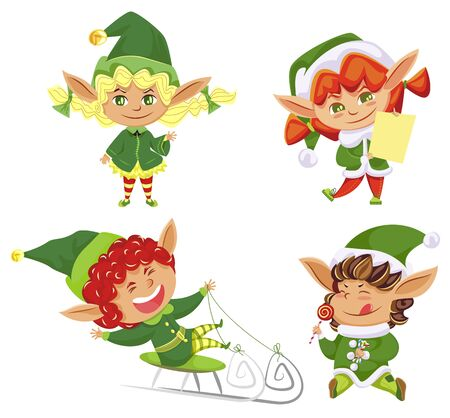 Christmas holiday, elves in hats, boys and girls, Santa helpers, isolated icons vector illustration. Dwarf sledging and licking lollipop or with gifts list. Imaginary creature, fairy tale characters