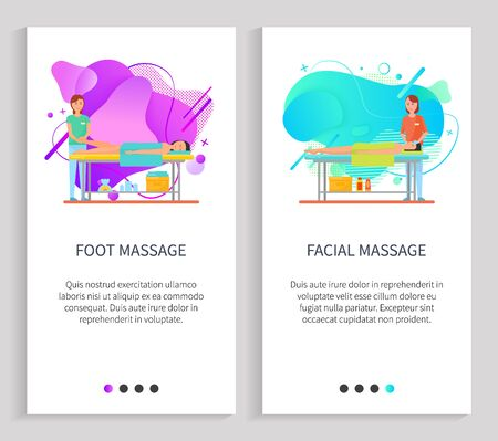 Facial and foot massage vector, therapist with client specialist treatment  of body. Woman and male laying on table with soft towel on back. Website or slider app, landing page flat style