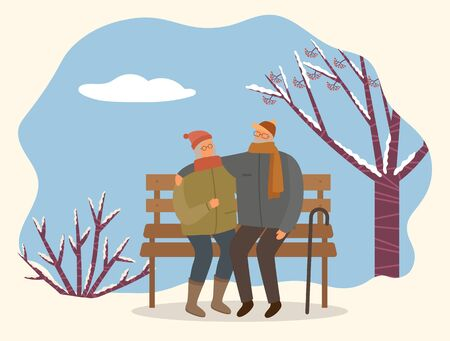 Dating of man and woman sitting on bench near snowy tree. People embracing on wooden seat walking in park in winter time. Male and female characters wearing scarf and hat hugging outdoor vector